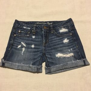 American Eagle Distressed Denim Shorts Size 0